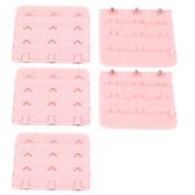 Unique Bargains Women Underwear Buckle 3 Rows Hooks Bra Back Extenders Strap Extention Pink 5pcs