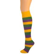 Kids Striped Knee Socks - Purple/Gold/Green