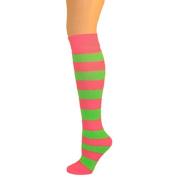 Kids Striped Knee Socks - Hot Pink/Lime Green
