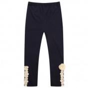Richie House Girls' Knit Legging Pants with Lace Applique RH1620