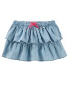 OshKosh B'gosh Little Girls' Tiered Chambray Skirt, 3-Toddler