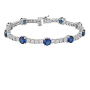 Gemspirations Sterling Silver Plated Simulated Blue Sapphire with CZ Accents Tennis Bracelet, 18cm