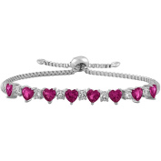 Gemspirations Sterling Silver Plated Simulated Ruby with CZ Accents Adjustable Heart Bolo Bracelet