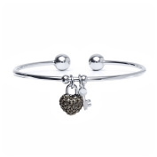 18kt White Gold over Brass & Marcasite Heart Lock and Key Charm Cuff