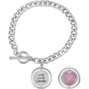 """Truly Inspired Crystal Fine Silver-Tone """"Live, Laugh, Love"""" Toggle Bracelet, 19cm"""