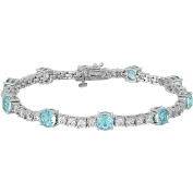 Gemspirations Sterling Silver Plated Simulated Blue Topaz with CZ Accents Tennis Bracelet, 18cm