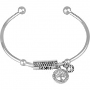 """Truly Inspired Crystal Fine Silver-Tone Tree """"Family"""" Cuff Bracelet"""