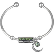 """Truly Inspired Crystal Fine Silver-Tone Moon and Star """"Dream"""" Cuff Bracelet"""