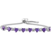 Gemspirations Sterling Silver Plated Simulated Amethyst with CZ Accents Adjustable Heart Bolo Bracelet
