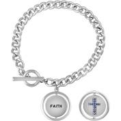 "Truly Inspired Crystal Fine Silver-Tone Cross ""Faith"" Toggle Bracelet, 19cm"
