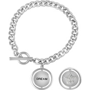 """Truly Inspired Crystal Fine Silver-Tone Moon/Star """"Dream"""" Toggle Bracelet, 19cm"""