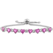 Gemspirations Sterling Silver Plated Simulated Pink Sapphire with CZ Accents Adjustable Heart Bolo Bracelet