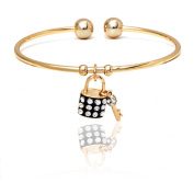 18kt Gold over Brass & Elements Black Lock & Key Charm Cuff
