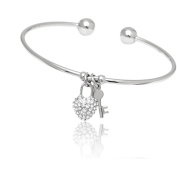 18kt White Gold over Brass & Elements Heart Lock and Key Charm Cuff