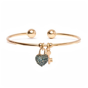 18kt Gold over Brass & Elements Blue Heart Lock and Key Charm Cuff