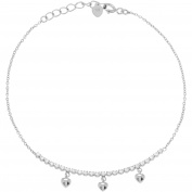 Brinley Co. Women's CZ Sterling Silver Dangling Hearts Fashion Bracelet, 20cm