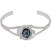 Brinley Co. Women's Silver-Tone Paua Shell Dolphin Emblem Cuff Fashion Bracelet, 15cm