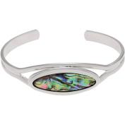 Brinley Co. Women's Silver-Tone Paua Shell Oval Cuff Fashion Bracelet, 15cm