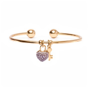 18kt Gold over Brass & Elements Purple Heart Lock and Key Charm Cuff