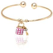 18kt Gold over Brass & Elements Pink Lock & Key Charm Cuff