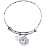 Disney Princess Women's Stainless Steel Royal and Loyal Crystal Crown with 8mm Clear Bead Bangle