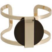 Olive Green Stone Gold-Tone Cuff Bracelet
