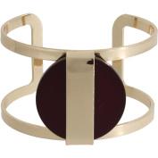 Burgundy Stone Gold-Tone Cuff Bracelet