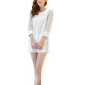 Juniors Round Neck 3/4 Sleeve Top w Elastic Waist Crochet Casual Shorts