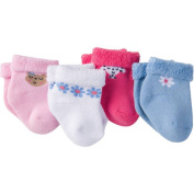 Gerber Newborn Baby Girl Terry Bootie Sock, 4-Pack