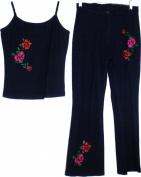 M & S Collection Rose Flower Detail Halter Top Denim Jeans Junior Womens Set [Navy Blue - L]