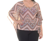 Ultra Flirt Beige Combo Poncho 3/4 Sleeve Size L NWT - Movaz