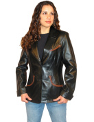 Scully Western Blazer Womens Leather Contrasting Trim XS Black L876