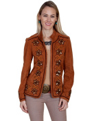 Scully Jacket Womens Long Sleeve Floral Bead Design M Copper Calf L258