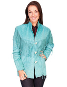Scully Western Jacket Womens Leather Lace Fringe Toggle L9