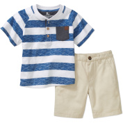 Quick Sand Little Boys' Henley Top with Twill Shorts Outfit Set, Available in Size 4-7