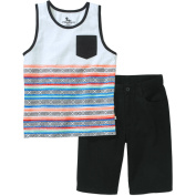 American Hawk Little Boys' Aztec Tank Top with Twill Shorts Outfit Set, Available in Size 4-7