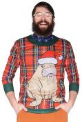 Plaid Walrus Sweater Big Men's Long Sleeve Tee Shirt, 2XL