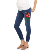 Planet Motherhood Maternity Over-Belly Seamless Banded Denim Jeans With Side Floral Applique