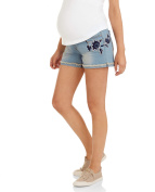 Planet Motherhood Maternity Flower Embroidered Roll Up Jean Shorts