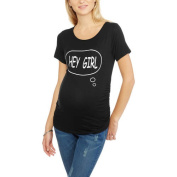 "Planet Motherhood Maternity ""Hey Girl"" Short Sleeve Graphic Tee With Flattering Side Ruching"