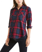 Faded Glory Maternity Button Front 2 Pocket Plaid Shirt