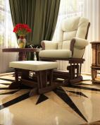 Naomi Home Deluxe Multiposition Sleigh Glider and Ottoman Set-Cushion Colour:Sand,Finish:Espresso