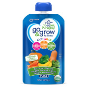 Go & Grow by Similac Fruit and Veggie Pouches with OptiGRO™, Butternut Squash, Pumpkin, Banana, Carrot, Spinach, Broccoli Puree, For Toddlers, Organic Baby Food, 120mls