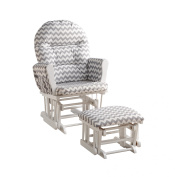 Naomi Home Brisbane Glider & Ottoman Set-Cushion Colour:Grey Chevron,Finish:White