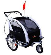 Aosom Elite II 3in1 Double Child Bike Trailer and Stroller - Black / White