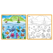 Matashi Kids Small Washable Colouring Play Mat with 'Fantastic Sea Life' Design by Dimple