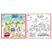 Matashi Kids Small Washable Colouring Play Mat with 'Bustling City Life' Design by Dimple