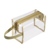 Zodaca Hanging Cosmetic Makeup Clear PVC Travel Wash Bag Holder Organiser Pouch - Gold