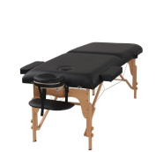 The Best Massage Table 7.6cm Foam 2 Fold Black Portable Massage Table - PU Leather High Quality