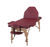 The Best Massage Table 3 Fold Burgundy Reiki Portable Massage Table - PU Leather w/ Free Acessories